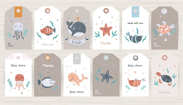 Set of tags with marine animals for girl and boy. perfect for baby shops, product packaging