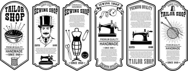 Set of tailor shop flyer template