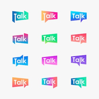 Set of talk lettering with bubble logo. chat, speak, logo template. talk  logotype  template.