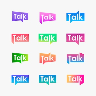 Set of talk typography with speech bubble logo.