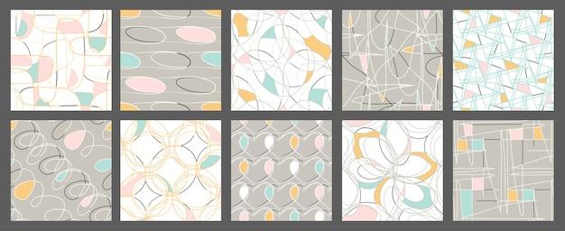 Set of tangled seamless patterns.