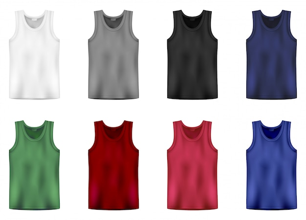 Set of tank top in white, gray,black, blue, green and red colors. men vest underwear. isolated sleeveless male sport shirts or men top apparel.