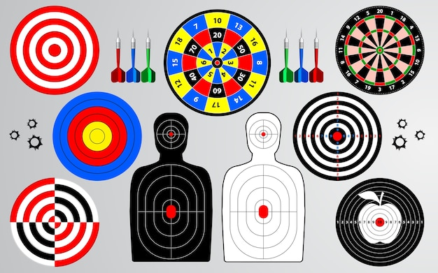Set of target shooting range, dartboard, archery.