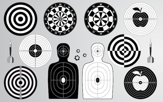 Set of target shooting range, dartboard, archery.