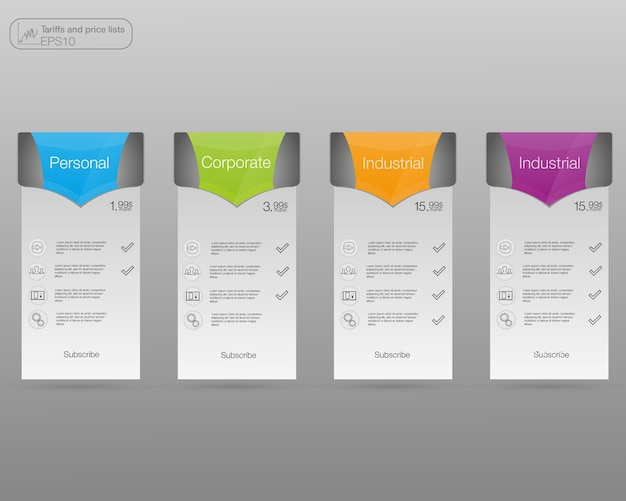 Set tariffs banners. web pricing table.   for web or app.