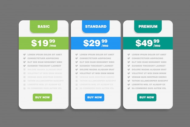 Set tariffs for website. interface for the site. ui ux for web app. pricing table, banner, order, box, button, list and bullet with plan for website in flat design