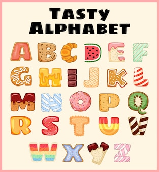 Set of tasty alphabet. delicious, sweet, like donuts, glazed, chocolate, yummy, tasty, shaped alphabet font letters.