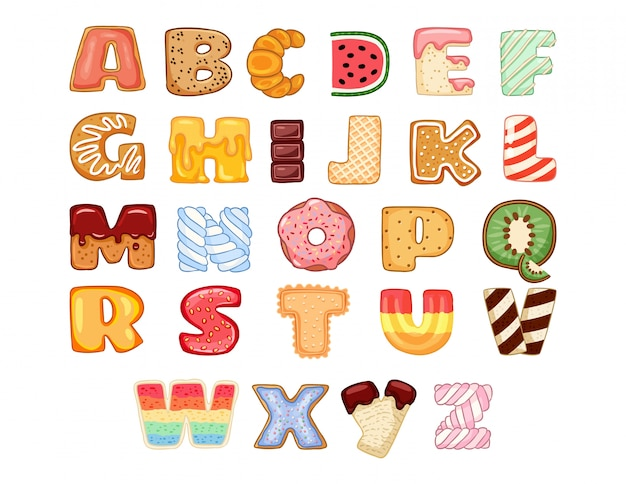 Set of tasty alphabet letters
