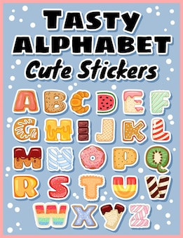 Set of tasty alphabet stickers.