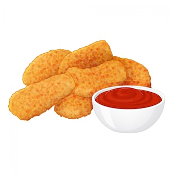Set of tasty chicken nuggets with ketchup on white background. cartoon style.