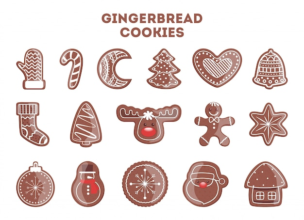 Set of tasty delicious gingerbread cookie for christmas dinner. collection of homemade dessert in shape of tree and snowflake.   illustration