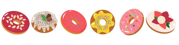 Set of tasty donuts with different toppings, fruit, chocolate, icing.