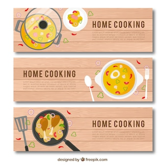 Set of tasty food banners