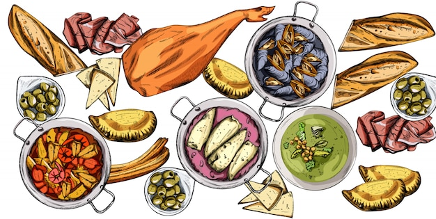 Set of tasty food. mussels, jamon bone, baguette, calzone, seafood soup, green beans or spinach puree
