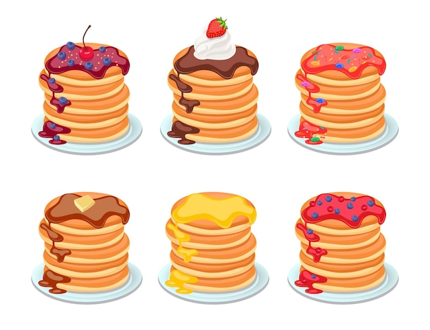 Set of tasty pancakes with different toppings