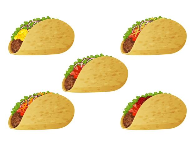 Set of tasty tacos on white background. realistic style.  illustration.
