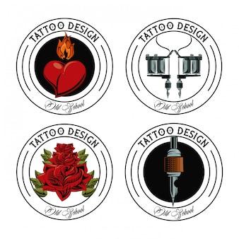 Set of tattoo design emblems collection