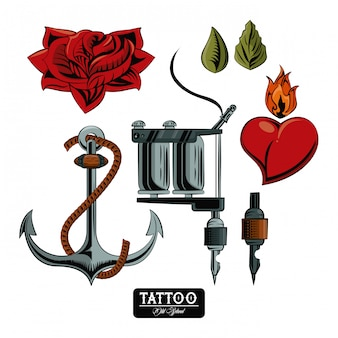 Set of tattoo drawings elements collection