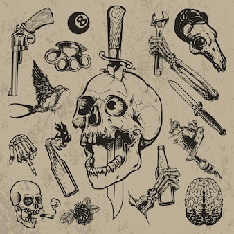 Set of tattoo element