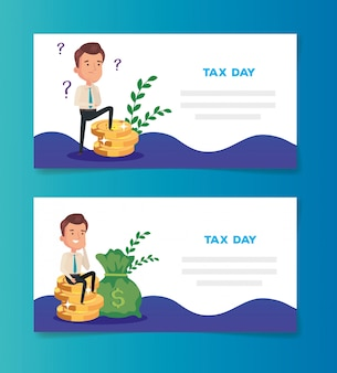 Set of tax day banner with businessman and money