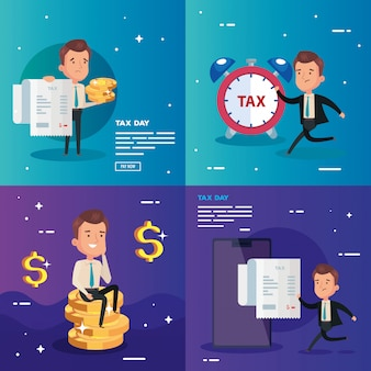 Set of tax day illustration with businessman character