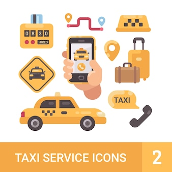 Set of taxi service flat icons