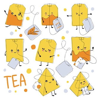 A set of tea bags with cute doodle style faces. orange tea bags with tags ..