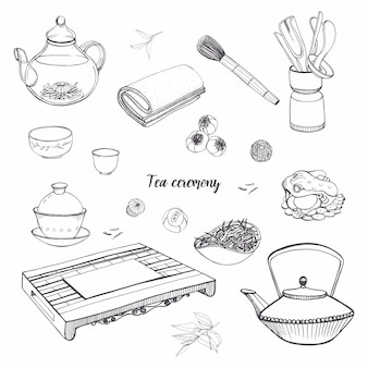 Set tea ceremony with various traditional tools. teapot, bowls, gaiwan. contour hand drawn illustration.