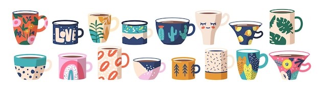 Set of tea or coffee cups. ceramic crockery, various mugs with trendy ornament cats, lips, rainbow and palm leaves, lemon, cacti flowers, abstract spots and patterns. cartoon vector illustration