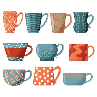 Set of tea cups colorful cups for morning tea drinking design elements