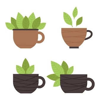 Set of tea cups with green leaves. matcha tea. traditional japanese tea ceremony. illustration in a flat style.