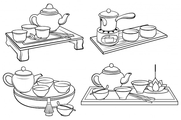 Set of tea service. collection of ceramic dishes for the tea ceremony. ancient tradition.