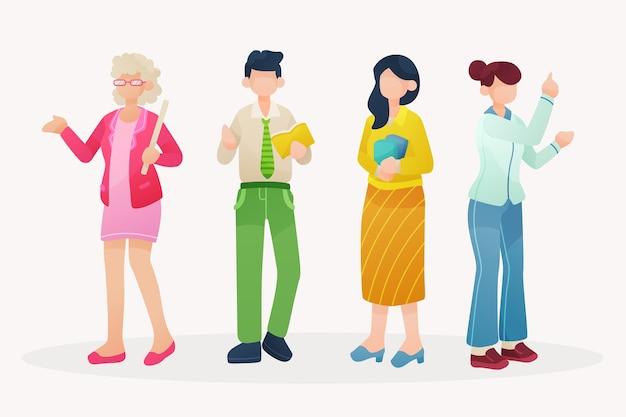 Set di illustrazione dell'insegnante