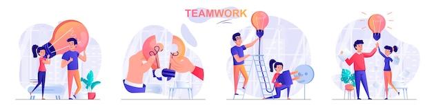 Set teamwork flat design concept illustration of people characters