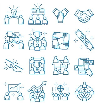 Set of teamwork icons with outline style