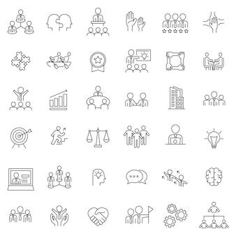 Set of teamwork management thin line icons