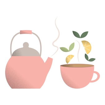 A set of teapot and tea mugshot tea mugtea leaves and lemon slices for tea