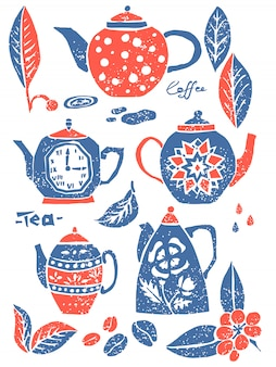 Set of teapots in naive lino style