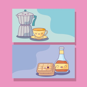 Set of teapots with food kawaii style