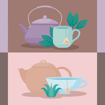 Set of teapots with tea cups of herbs