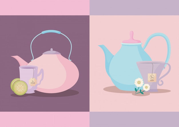 Set of teapots with tea cups isolated
