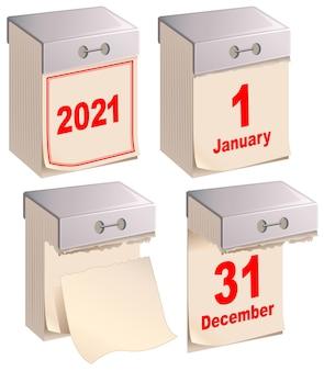 Установить отрывной календарь, изолированные на белом