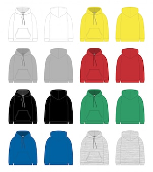 Set of technical sketch for men hoodie template