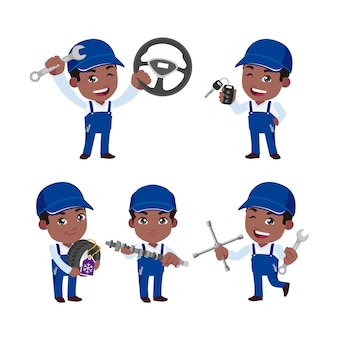 Set of technician with different poses