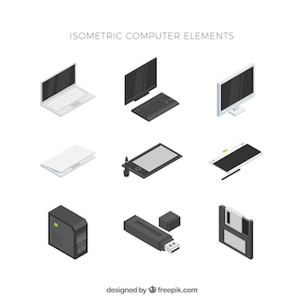 Set of technological elements with isometric view