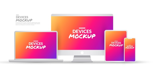 Set of technology devices mockup with blank screen on white