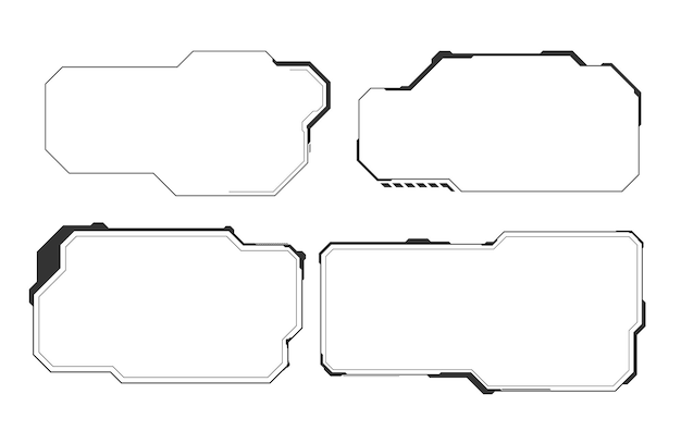 Set of technology hud elements design isolated on white wall