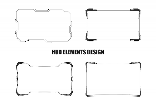 Set of technology hud elements design isolated