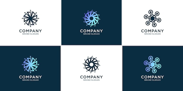 Set of technology logo abstract with modern style premium vector