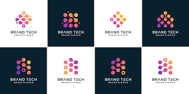 Set of technology logo for computer data connection premium vector